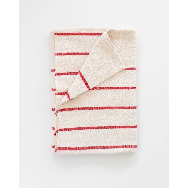 large country towel with stripes throughout - RED