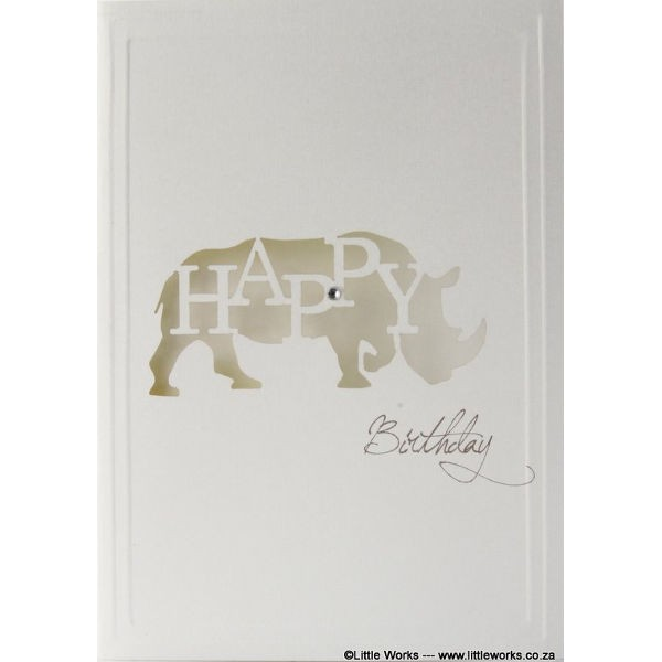 "Grußkarte ""Happy Birthday"" - Rhino"