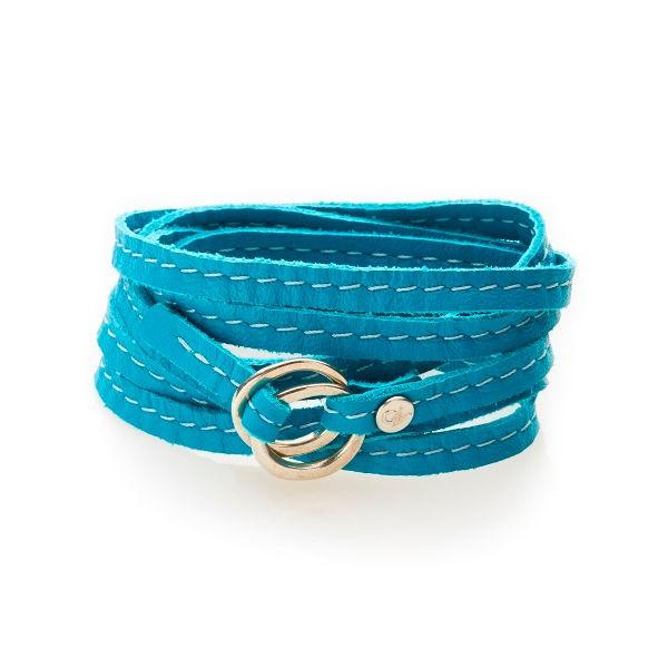 REBEL Leder-Armband - turquoise