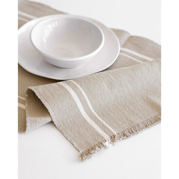 contemporary table runner with stripes - STONE