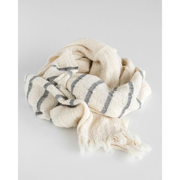country scarf with stripes on end - CHARCOAL