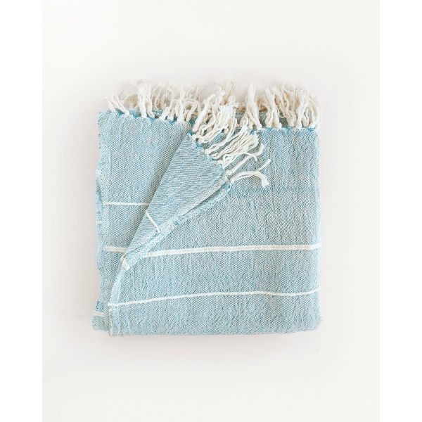contemporary throw with variegated stripes - TEAL