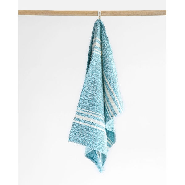 small contemporary towel with variegated stripes - TEAL