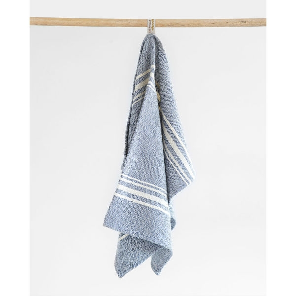 small contemporary towel with variegated stripes - INDIGO
