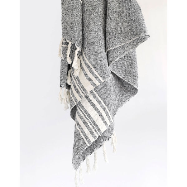 large contemporary towel with variegated stripes - CHARCOAL
