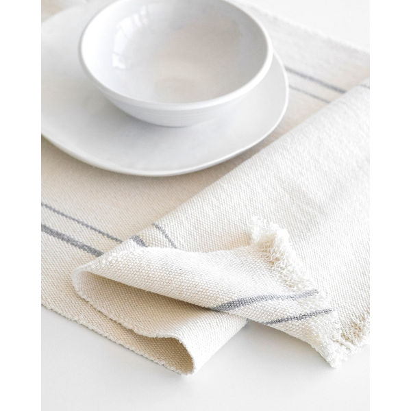 country table runner with stripes - GREY