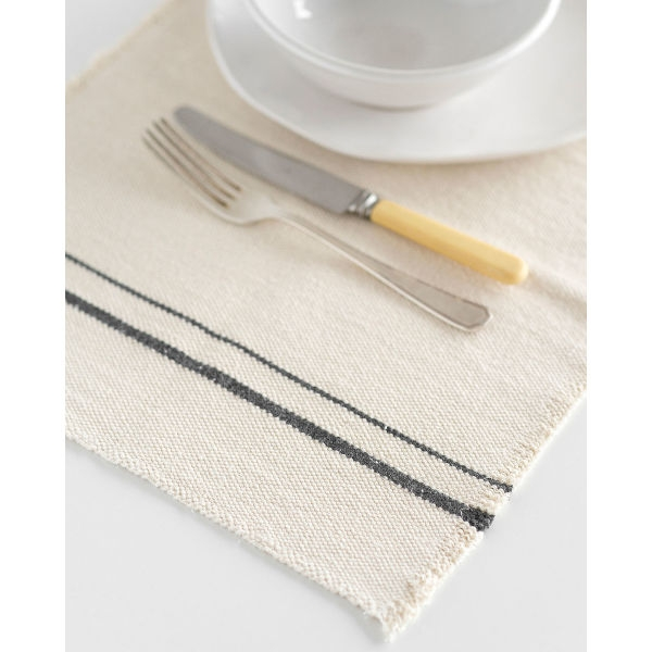 country placemat with stripes on end - CHARCOAL