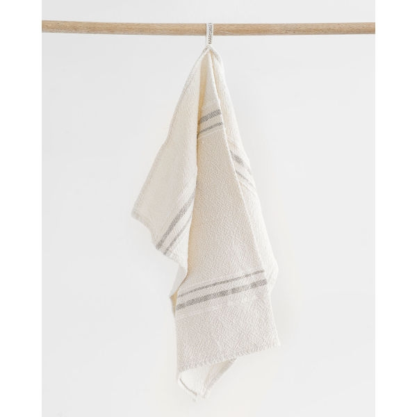 small country towel with variegated stripes - GREY