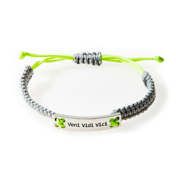 CHAMP Armband - Veni Vidi Vici - light grey/neon lime