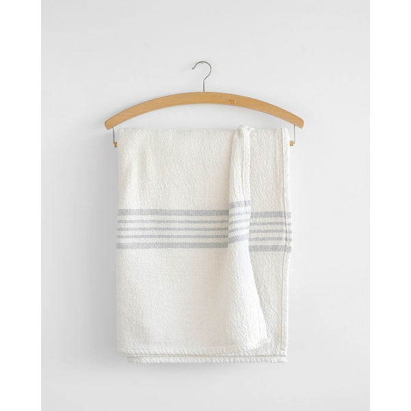 country table cloth with stripes on end - GREY