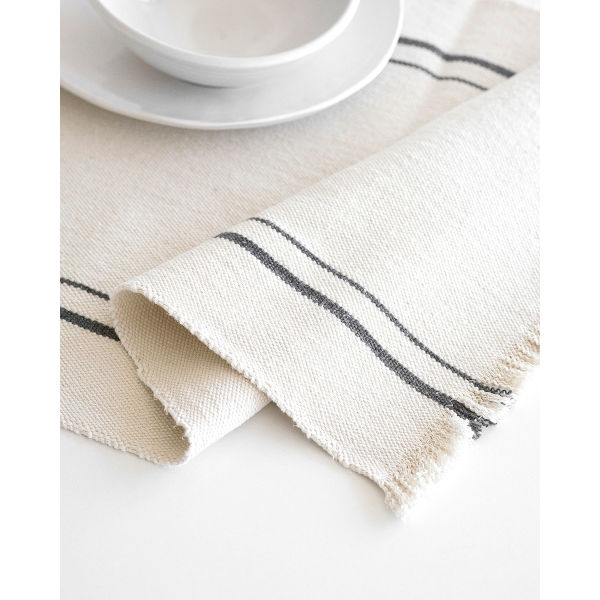 country table runner with stripes - CHARCOAL