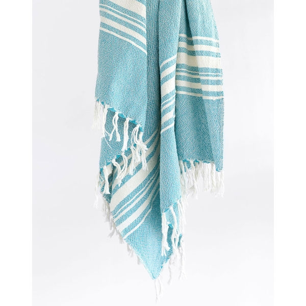 large contemporary towel with variegated stripes - TEAL