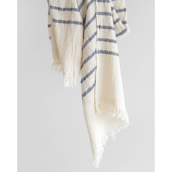 country scarf with stripes on end - NAVY