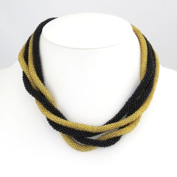 """Halskette """"Crochet beaded rope"""" plain - 2 m BLACK & GOLD"""