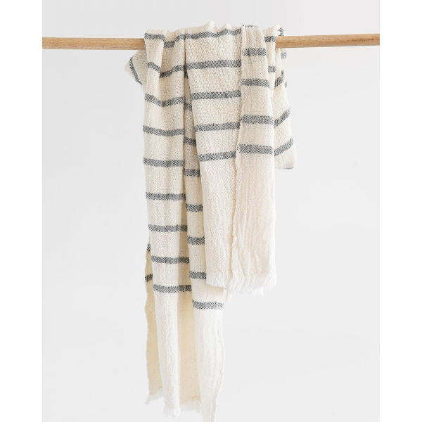 country scarf with stripes throughout - CHARCOAL