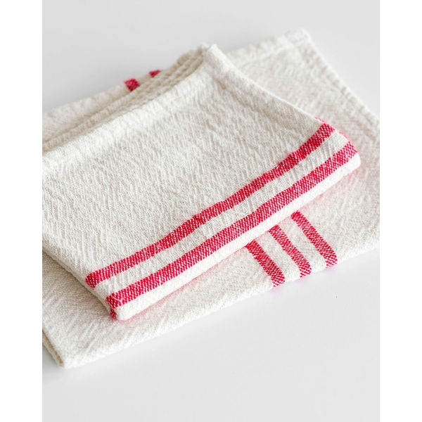 small country towel with stripes on end - RED