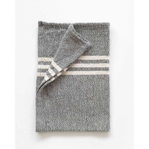 small contemporary towel with stripes on end - CHARCOAL