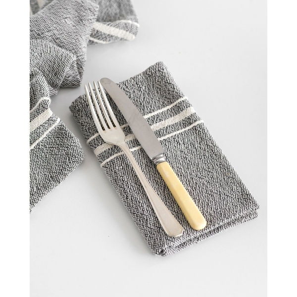 contemporary napkin with variegated stripes - CHARCOAL