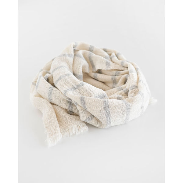 country scarf with stripes throughout - GREY