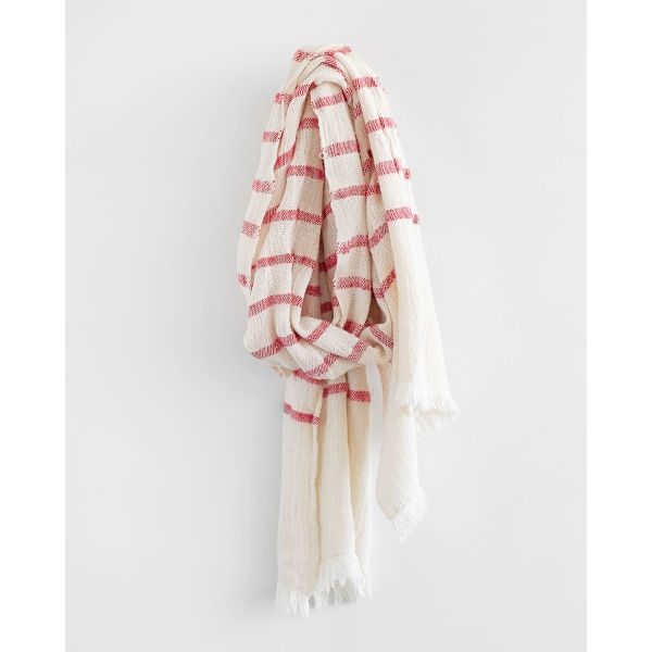 country scarf with stripes throughout - RED