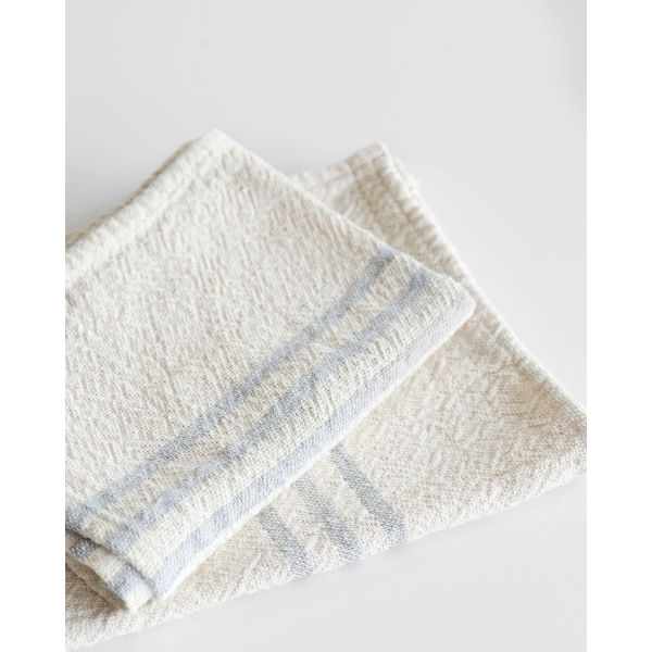 small country towel with stripes on end - GREY