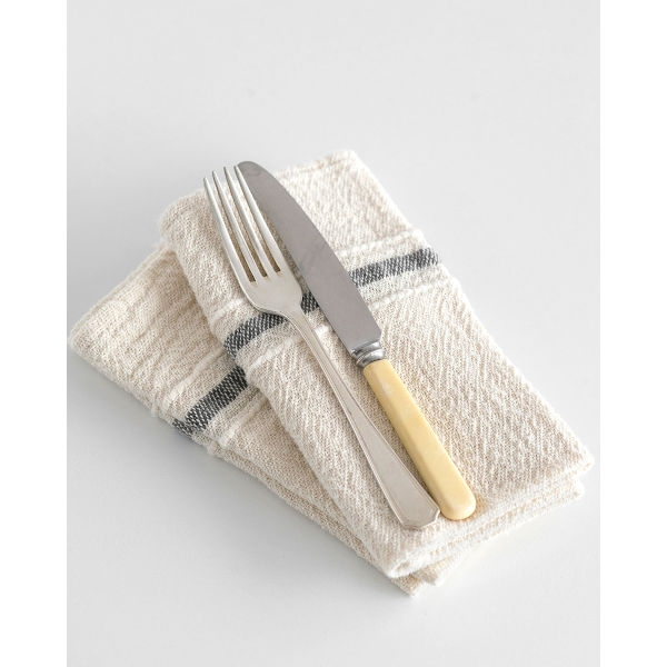 country napkin with variegated stripes - CHARCOAL