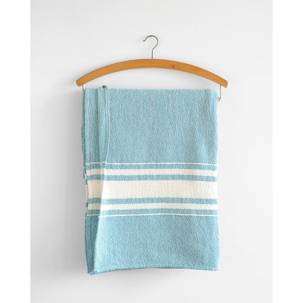 contemporary table cloth with variegated stripes - TEAL