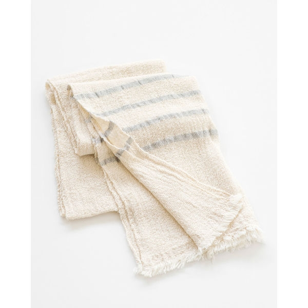 country scarf with stripes on end - GREY