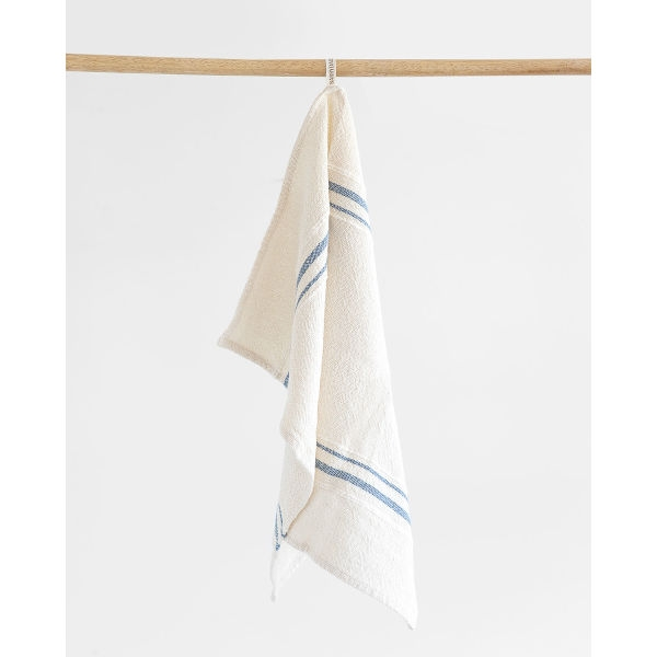 small country towel with variegated stripes - DENIM