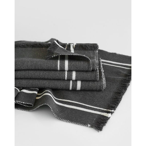 contemporary table runner with stripes - CHARCOAL
