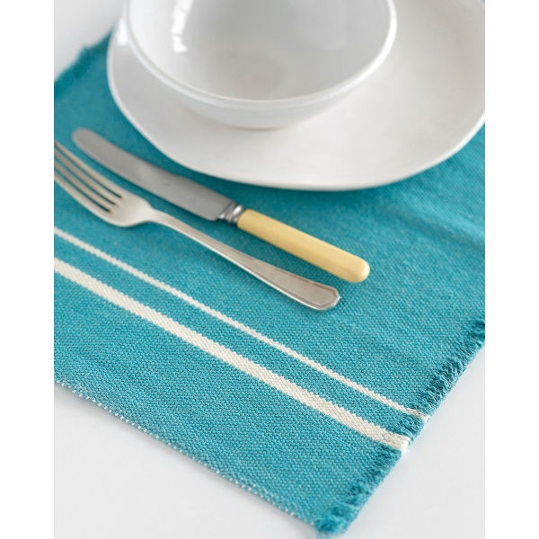 contemporary placemat with stripes on end - TEAL