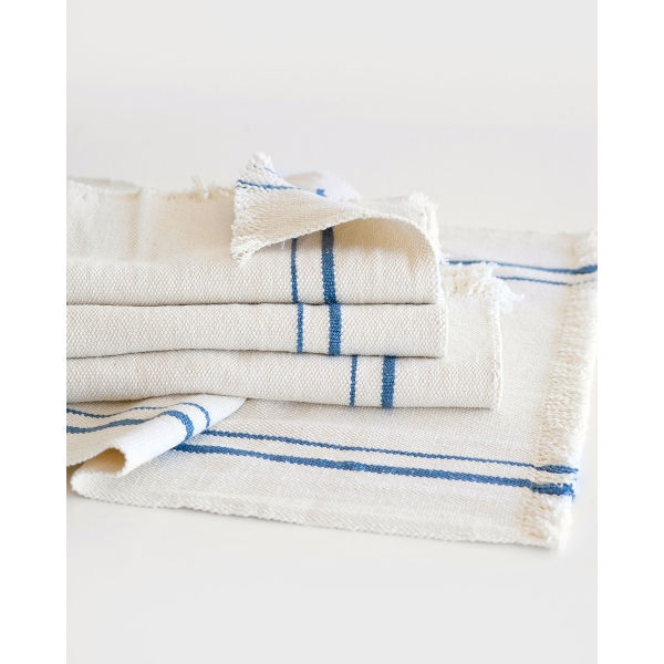 country table runner with stripes - DENIM