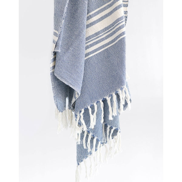 large contemporary towel with variegated stripes - INDIGO