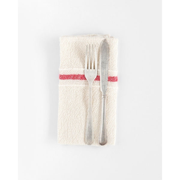 country napkin with variegated stripes - RED