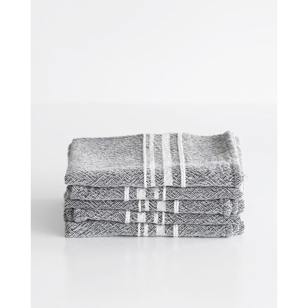 small contemporary towel with variegated stripes - CHARCOAL