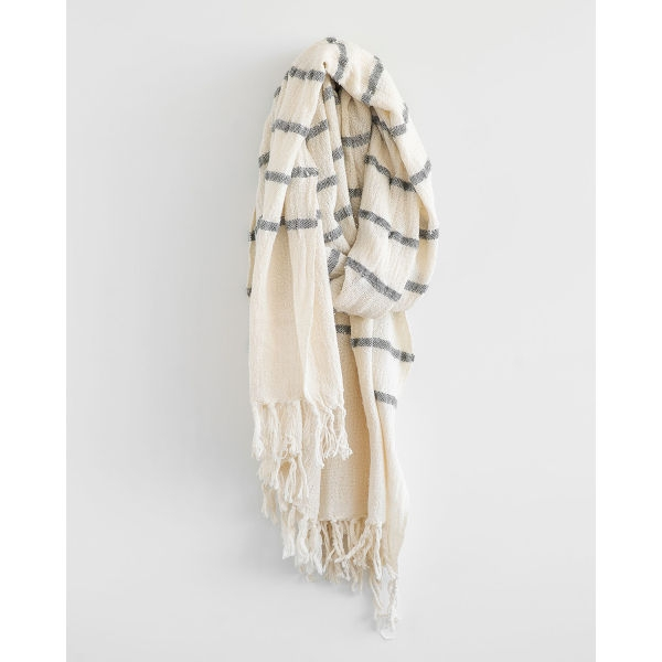 country shawl with stripes throughout - CHARCOAL