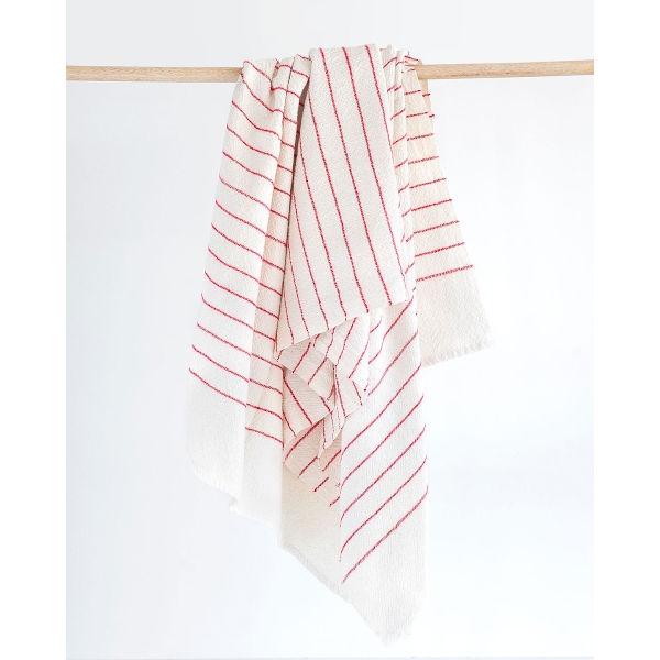 large country towel with pinstripes - RED