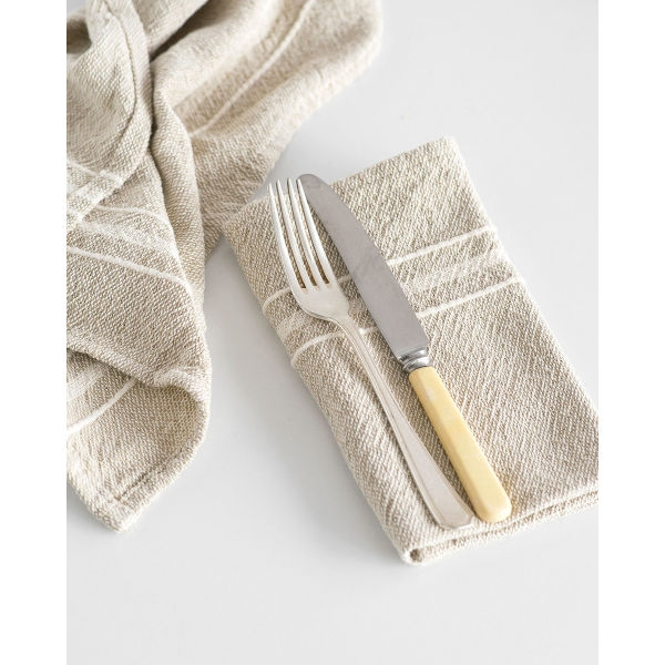 contemporary napkin with variegated stripes - STONE