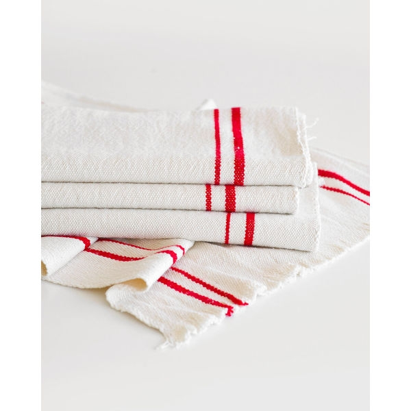 country table runner with stripes - RED