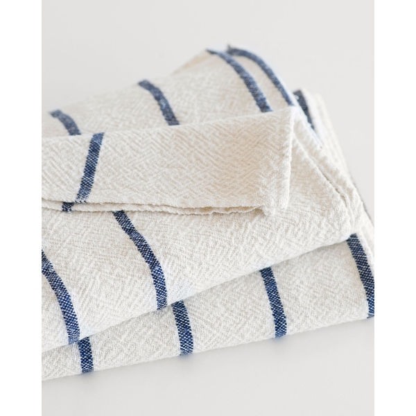 large country towel with stripes throughout - NAVY