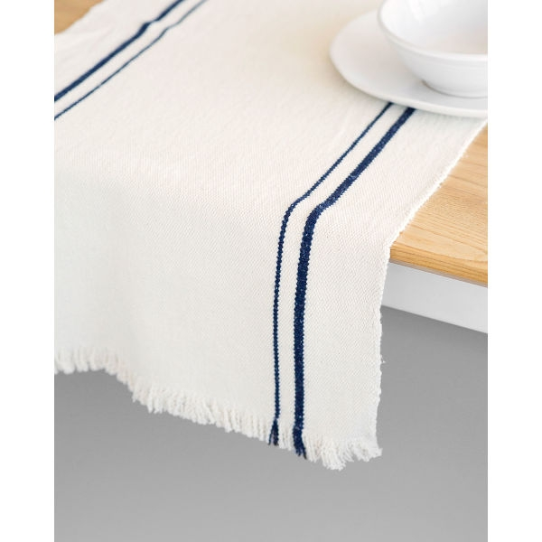 country table runner with stripes - NAVY