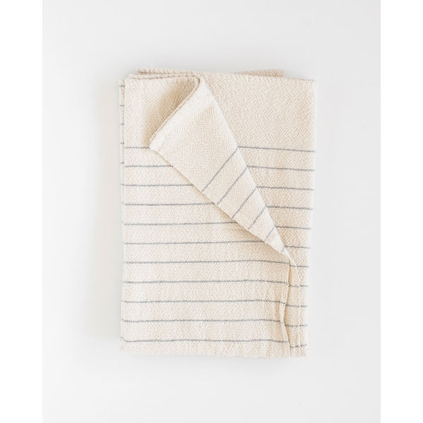 large country towel with pinstripes - GREY