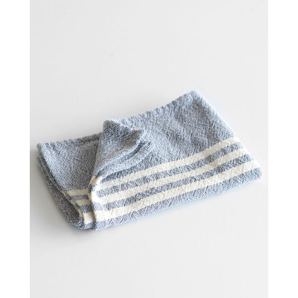 small contemporary towel with stripes on end - INDIGO