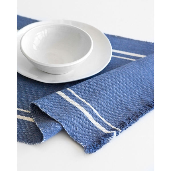 contemporary table runner with stripes - INDIGO