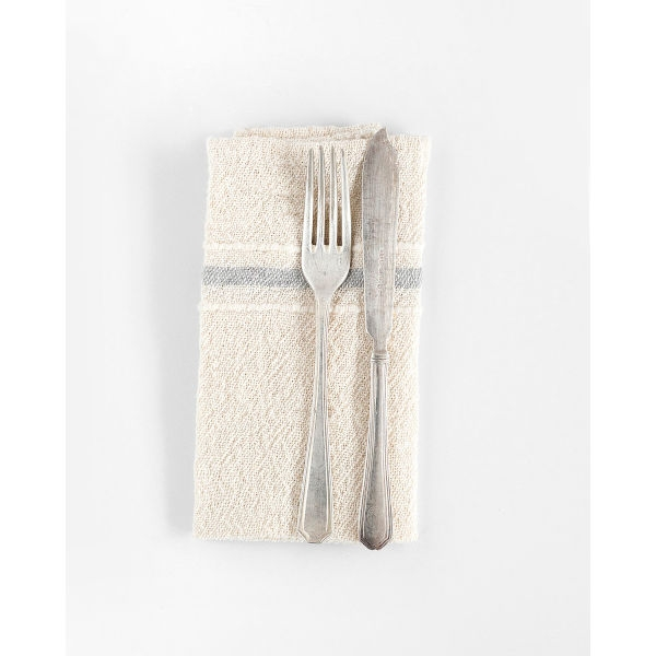 country napkin with variegated stripes - GREY