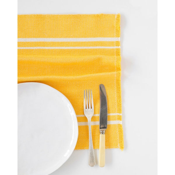 contemporary placemat with stripes on end - YELLOW