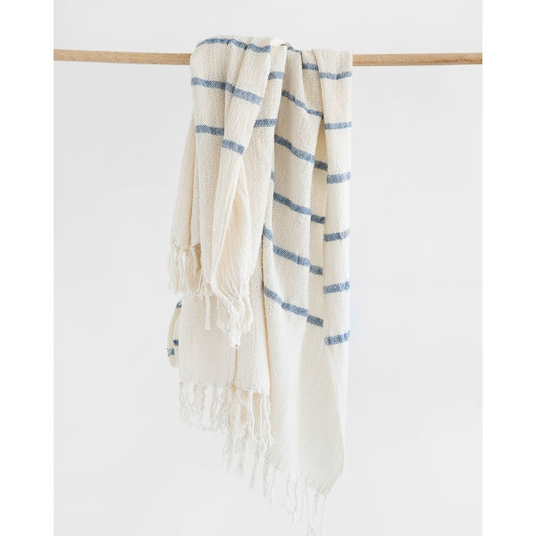 country shawl with stripes throughout - DENIM