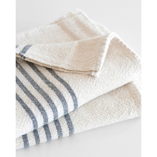 large country towel with stripes on end - CHARCOAL