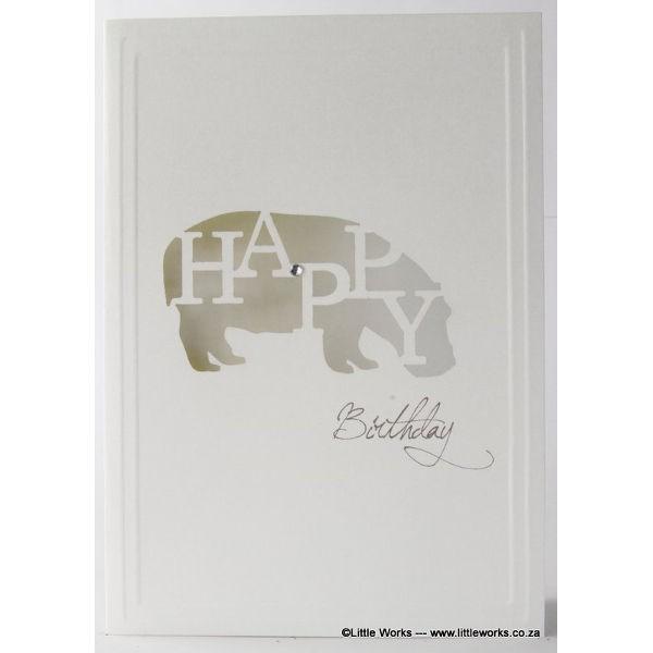 "Grußkarte ""Happy Birthday"" - Hippo"