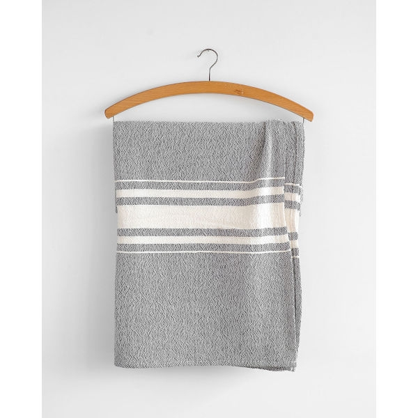 contemporary table cloth with variegated stripes - CHARCOAL
